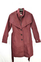 Soia & Kyo Women's Belted Single Breasted Wool Coat, Maroon, Size M, $495, NwT