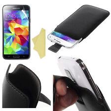 2x Pellicole + Custodia Pull Tab SACCHETTO per Samsung Galaxy S5 Mini G800 Nero