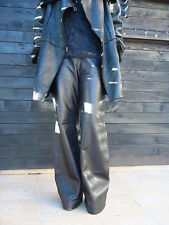 Thierry Mugler noir Agneau Pantalon en cuir évasée SZ 42 entrejambe 32 Italie a la mode