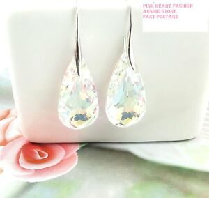 Clear AB Crystal Pear Earring Hook Solid 925 Sterling Silver wedding Party
