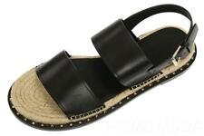 NEW VALENTINO GARAVANI BLACK LEATHER ESPADRILLES SANDALS SHOES 42/US 9