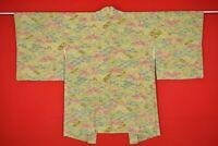 Vintage Japanese Kimono Silk Antique BORO HAORI Kusakizome Dyed/XM72/515