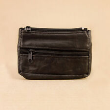 Soft Black Leather Coin Purse- 3 Zip