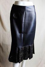 Ferre Women's Black Genuine Leather Peplum Hem Skirt EU 36 / US 2-4