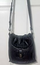 Lucky Brand Abbey Road Foldover Crossbody Shoulder Handbag Black Leather Sm