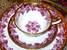 Royal Chelsea Heavy Gold & Purple Tea Cup & Saucer Plate Trio English Bone China