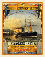 North German Lloyd New york Bremen Londres Havre paris bateau à vapeur affiches a2 314