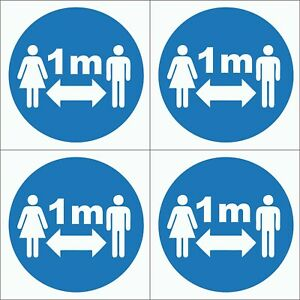 1M Apart Social Distancing Self-Adhesive Backed Waterproof Stickers 100x100mm