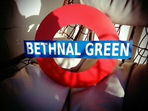 LONDON UNDERGROUND Bethnal Green Station SIGN LARGE METAL SIGN 400 X 320 MM