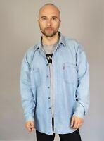 Men's Levi's Denim Western Shirt Light Blue Size XL