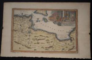TUNISIA LIBYA MALTA 1732 CHRISTOPH CELLARIUS ANTIQUE ORIGINAL COPPER ENGRAVEDMAP