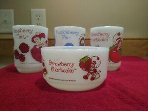 Vintage Anchor Hocking Strawberry Shortcake Milk Glass Bowl & 3 Mugs