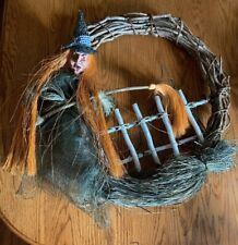 "24""Hand Made Grapevine Halloween Wreath Witch With Hat And Broom Spider On fence"