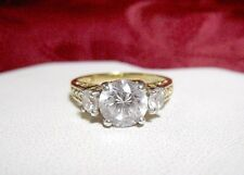 925 STERLING SILVER GOLD TONE CZ SPARKLY ROUND CLEAR THREE STONES SIZE 10.25