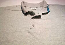 Golf Shirt 2XL Fruit of the loom Gray w Green Stripe on Collar 90 % Cotton