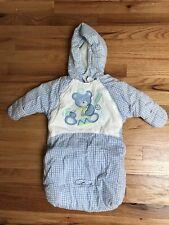 BABY BOY 0-9 MONTH Blue Plaid Teddy Bear HOODED SNOW SUIT SACK