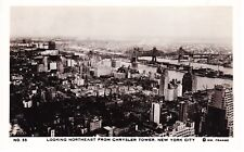 NEW YORK CITY WILLIAM FRANGE REAL PHOTO PC, LOOKING EAST FROM CHRYSLER BLDG, NYC