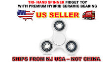 TRI- HAND SPINNER EDC FIDGET TOY ADD & ADHD STRESS RELIEVER AUTISM WHITE