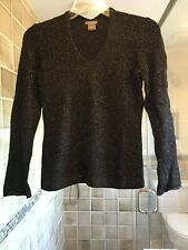 Ann Taylor Black with Gold Sparkle LS Viscose/Wool/Nylon/Cashmere Sweater; XSP