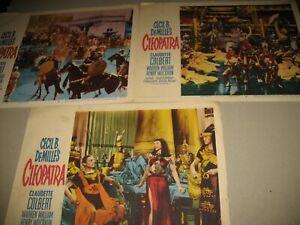 """CLAUDETTE COLBERT """"CLEOPATRA"""" LOT OF 3 FOTOBUSTE ORIGINAL  1952 MADE U.S.A."""