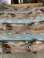 "Beach/ Umbrella/ Sand /Tapesty Fabric Beach Scene Discontinued 54"" Wide Bty"