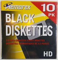 New Memorex Floppy Disks 10-Pack 2.0MB Black Diskettes 3.5 Inch Computer Sealed