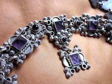 Silver set parure bijoux argent massif Améthystes Vintage 1960 gothique