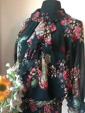 Black Floral Chiffon Blouse with Ruffled Details
