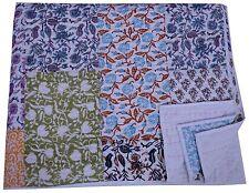 King Size Kantha Quilt Hand Block Print Patchwork Bedding Blanket Indian Throw