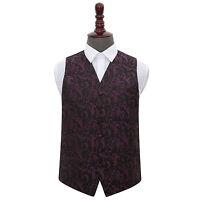 DQT Woven Floral Black & Purple Formal Tuxedo Mens Wedding Waistcoat S-5XL