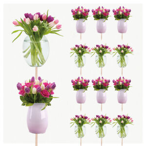 Flowers Cupcakes Cake Food Decorations Picks Toppers Mothers Day Birthday 03
