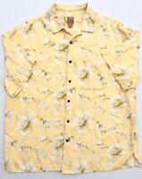 Jos A Bank Men's Silk Hawaiian Floral Camp Shirt Yellow Short Sleeve XXL 2XL