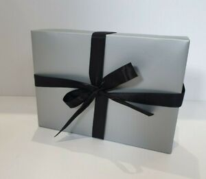 🎁 SILVER A4 A5 A6 FLAT PACK GIFT BOX WITH YOUR CHOICE OF RIBBON COLOUR 🎀