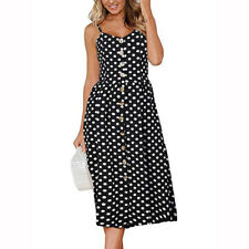 Women Strappy Floral Printed Backless Sundress Holiday Summer Beach Button Dress #9 2xl
