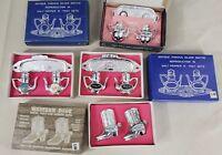 4 Vintage Souvenir Salt & Pepper Shaker Enameled, Zinc Nashville, Opry Calif NOS