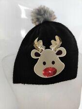 Primark Women's Christmas Hat Black Sequins Rudolf Reindeer