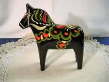 "Vintage Swedish Dala Horse ~ Nils Olsson ~ Black 6 3/4"" Original Label"