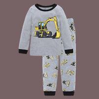 """Excavator"" Kids Baby Boys Clothing Pajamas Sleepwear Pjy Gray Outfit Sets 2-7T"
