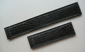 GENUINE must de CARTIER WATCH STRAP BAND 15 x 14 mm GRAY PYTHON SKIN LEATHER NEW