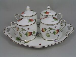 COALPORT STRAWBERRY POT DE CREAME SET.
