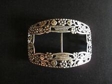 ancienne boucle de ceinture en argent massif à décor de fleurs fin XIX ème