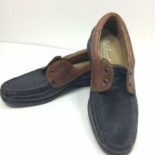 Hitchcock Mens Black Brown Moccasin Oxford Tie Size 12 3E Wide Shoes 3347