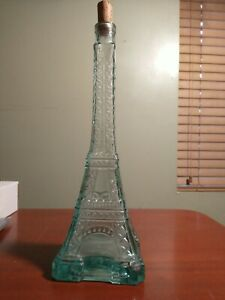 "Glass Eiffel Tower Bottle Wine Olive Oil Decanter Vase Green/Blue 13.5"" Decor"
