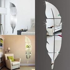 DIY amovible plume Miroir Autocollant Mural Art vinyle
