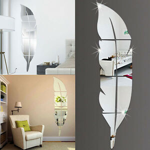 Feather Mirror Tiles Wall Stickers Self Adhesive Decor Stick On Art Home Decal /