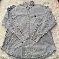 Ralph Lauren Mens Size XL Blake Long Sleeve Button Down Blue Stripe Shirt EUC