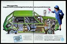 1979 VW Volkswagen Polo green car diagram French vintage print ad