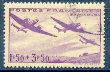 STAMP / TIMBRE DE FRANCE OBLITERE N° 540 OEUVRES DE L'AIR / AVION