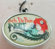 Time Line Double Sided Oval Pendant with Mermaid - Metal with Acrylic Dome