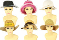 Vintage Womens Straw Hats Summer Beach Retro 70s 80s 90s Wholesale x20 -Lot674